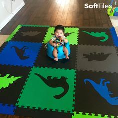 SoftTiles Dinosaur Foam Play Mats in Black, Blue, Green, Lime, and Gray. This is a cool mix of colors that's colorful, but not too colorful. Use these foam tiles directly on hardwood floors.