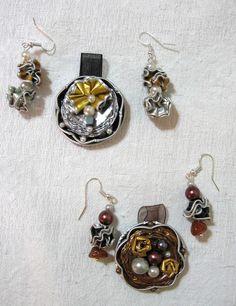 Ciondoli a forma di fiore ed orecchini abbinati - fatti con capsule Nespresso