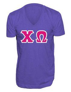 American Apparel makes the best v-neck letter shirts! Custom Greek Apparel, Greek Clothing, American Apparel, V Neck, Lettering, Sports, How To Make, Tops, Fashion