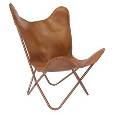 Caramel Butterfly Chair with Top Grain Leather: Caramel Butterfly Chair with Top Grain Leather. This chair is hand crafted and features a premium buffalo leather cover. It is cross stitched with leather on all edges providing amazing strength and durability. It comes flat packed for self assembly in a nice neat box. No two are the same.  Please note: This item is made to order. Item will be shipped 3-4 days after ordering.