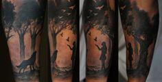 forest sleeve tattoo design