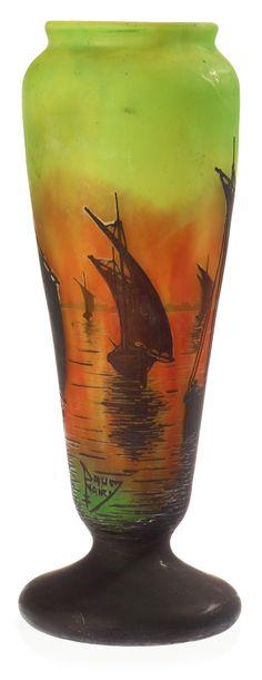 Daum Art Nouveau cameo glass vase, Nancy, France.