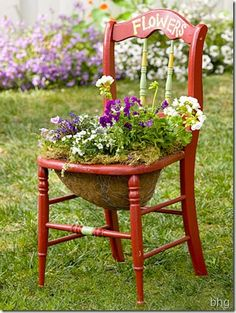 Bright red paint spruces up this cute kitchen chair. You could be as creative as you like by adding words and fancy details.