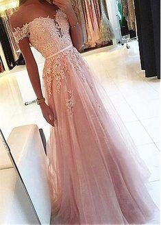 pink prom dress A Line party dress Appliques Prom Dress with off shoulder evening dress Pinkes Ballkleid A Line Partykleid Appliques Ballkleid mit schulterfreiem Abendkleid Pretty Prom Dresses, A Line Prom Dresses, Tulle Prom Dress, Ball Dresses, Tulle Lace, Beaded Lace, Pink Lace, Homecoming Dresses Long, Prom Dresses Light Pink