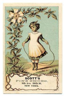 Victorian Trade Card ~ Ephemera  Scott's Fine Shoes - 8th Ave, 34th St, NY