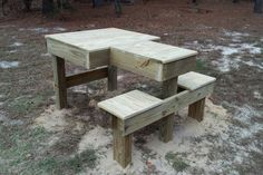 I decided to build a low cost shooting bench in my backyard. I am fortunate enough to have space for a 50 yard target, with no potential hazards for Shooting Bench Plans, Shooting Table, Shooting Targets, Gun Storage, Diy Projects For Kids, Back Patio, Guns And Ammo, Picnic Table, Ranges