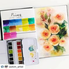 #Repost @aizkim_artist ・・・ Here are my thoughts on Prima Watercolor Paints (Tropicals Set)  Pros:  It produces very vibrant colors. I love that the paints are moist and are quite easy to pickup. It has a little bit of pastel-like quality to it when dry but are not chalky like Sakura Koi. The colors maintains its intensity even after drying. They are also surprising transparent (at least for the tropicals set)