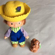 Vintage Strawberry Shortcake Doll Huckleberry Pie with pet Pupcake Retro 1980's
