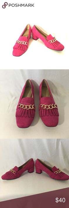 """ASOS Pink swayed Heels ASOS Fuchsia Pink Heels. Shoes are in great condition and only worn a few times. Heels are 2"""". Size is 8 Wide. ASOS Shoes Heels"""