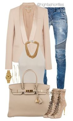 """So Neutral"" by highfashionfiles ❤ liked on Polyvore featuring Balmain, Vanessa Bruno, Hermès, Forever 21, Jennifer Meyer Jewelry and Rolex"