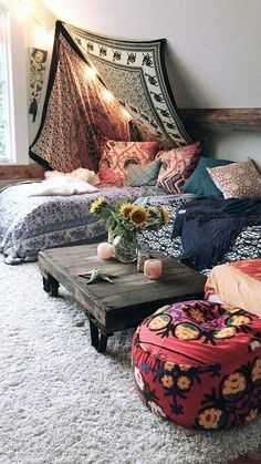 My dream room 💗 bedroom inspo, gypsy bedroom, bohemian bedroom decor, boho room,