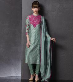 Sea Blue Embroidered Chanderi Silk Salwar Kameez