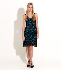 Karen Kane Sleeveless Stretch Floral Lace Dress Black with Turquoise available at Ear Abstracts Boutique (714) 996-3505
