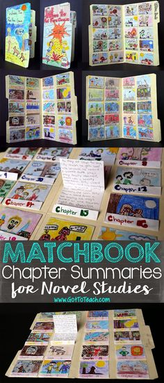 "Matchbook Chapter Summaries for Novel Studies - all you need is a file folder and folded pieces of construction paper! Students summarize each chapter on a ""matchbook"" foldable and, when they finish reading the books, they put together the folder."