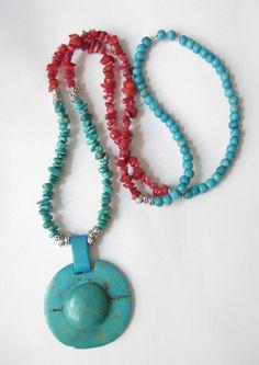 Koralle - Bettelkette Koralle-Türkis-Kette rot-türkis-silber - ein Designerstück von soschoen bei DaWanda
