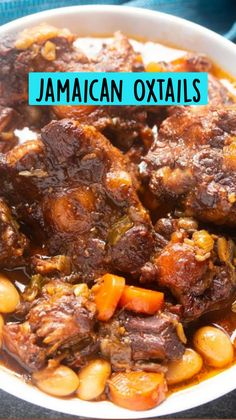 Jamaican Cuisine, Jamaican Dishes, Jamaican Recipes, Jamaican Oxtail, Beef Recipes For Dinner, Meat Recipes, Cooking Recipes, Healthy Recipes, Oxtail Recipes Easy