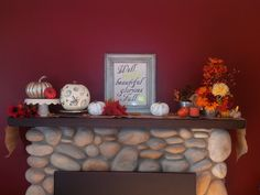 My mantle this year! 2015.  My favorite is the frame that I made!