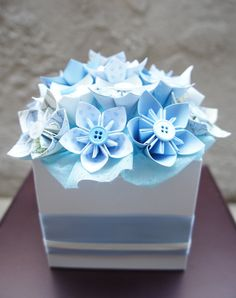 Kusudama Paper Flower Centerpiece - Blue/Pink - choose one Also available Custom made in your choice of colors. For One Paper Flower Centerpiece :Each centerpiece has around flowers. It measures about x x All photos are of a previous samples. Paper Bouquet Diy, Paper Flower Centerpieces, Large Paper Flowers, Paper Flowers Wedding, Diy Wedding Bouquet, Tissue Paper Flowers, Baby Shower Centerpieces, Origami Flowers, Flower Wall Rental