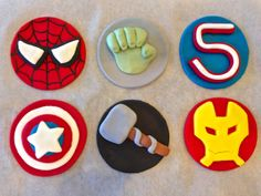 Marvel Avengers fondant cupcake toppers by CakesbyKaty from Etsy