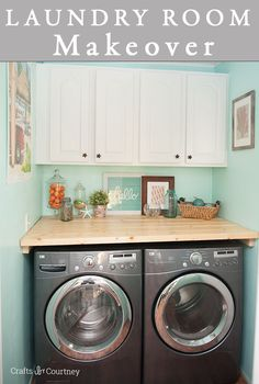 Laundry Room Cabinet Makeover with Americana Decor Satin Enamels #decoartprojects