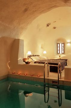 Bedroom with indoor pool.  Might be a little humid and chlorine-y but I could deal for a day or two.