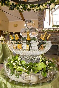 Champagne fountain ice sculpture