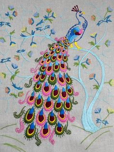 Genuine VINTAGE 1960's embroidered panel PEACOCK