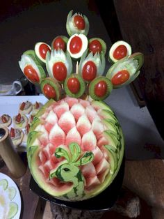 AaaVeee peacock Fruit Art, Gourds, Maldives, Peacock, Watermelon, Carving, Food, The Maldives, Pumpkins