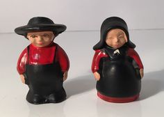 Vintage Cast Iron Amish Pennsylvania Dutch Couple Salt & Pepper Shakers by KitschyCollection on Etsy https://www.etsy.com/listing/490465466/vintage-cast-iron-amish-pennsylvania