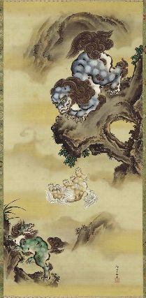 Chinese Lions Jumping off Cliff Shishi no iwaotoshi zu 獅子の岩落図 Japanese, Edo period, first half of the 19th century Kano Isen'in Naganobu, Japanese, 1775–1828, Hanging scroll; ink and color on silk, MFA