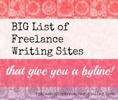 List of Writing Sites That Give You a Byline freelance writing, how to freelance write #freelancer #freelance #writer