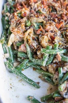 Healthy Green Bean Casserole (Dairy-Free, Keto, Gluten-Free) - The Roasted Root Paleo Green Beans, Fresh Green Bean Recipes, Green Beans With Bacon, Healthy Dishes, Good Healthy Recipes, Paleo Recipes, Cooking Recipes, Casserole Dishes, Casserole Recipes