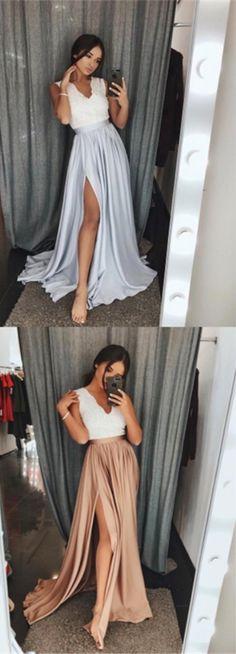 Cheap A-Line V-Neck grey Long Prom Dress with Lace,sexy leg split formal evening dresses,pink dress
