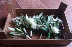 wedding buttonholes, tuscan country style with olive leaves, gypsophila and white lisianthus Wedding Event Planner, Wedding Events, Weddings, Wedding Buttonholes, Button Holes Wedding, Gypsophila, Country Style, Event Planning, Catering