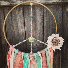Nursery Decor, Wall Decor, Spiritual Decor, Rose Gold Pendant, Buddha Art, Boho Wall Hanging, Dream Catcher Boho, Hippie Art, Czech Glass Beads