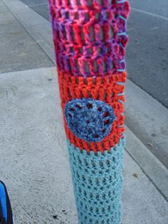 How To Yarn Bomb I wish someone would crochet one of these around the pole at the crash site of my son.. Red yellow green would be Awesome! I really don't crochet.. Michael Ray Vega Ride On!