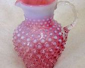 """Vintage Fenton Cranberry Glass Hobnail Opalescent Pitcher... 5 3/4"""" Inches Tall"""