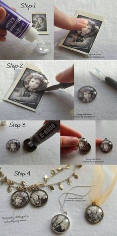 Little Locket Photos  Note from Crafts Corner Member - I can't find those epoxy stickers in my area but I use dimensional magic mod podge. It's a crafting miracle. I swear by it! To glue my images down I use a thin layer of paste and then the mod podge on top. You have to watch closely for bubbles. I use a fine paint brush to get rid of any bubbles. -B