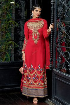 Designer Trouser Suits are now in store presented by Andaaz Fashion like Red Tussar Silk Trouser Suit With Red Chiffon dupatta. Embellished with Embroidered,Resham,Stone,Zari, Full Sleeve Kameez, Knee Length Kameez. This is perfect for Party,Wedding,Festival,Casual,Ceremonial. in Cardiff in New York United States.  http://www.andaazfashion.us/salwar-kameez/trouser-suits/occasion/casual-wear-trouser-suit