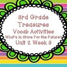 "Third Grade Treasures Unit 2 Week 3 ""What's In Store For Our Future?"" packet- contains four games to help students master their vocabulary words for Third Grade Treasures Unit 2 Week 3 ""What's in Store For Our Fut..."