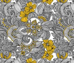 Doodles black and yellow fabric by valentinaramos on Spoonflower - custom fabric