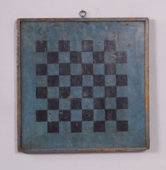 Painted Wooden Checkerboard, America, century, square game board with applied molding, 17 x 17 in. Primitive Country Homes, Primitive Bedroom, Primitive Furniture, Primitive Antiques, Primitive Decor, Primitive Signs, Vintage Games, Vintage Toys, Vintage Farmhouse Decor