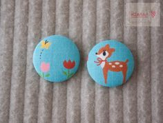 Fabric covered button- Little Deer SET1 Blue. $6.00, via Etsy.
