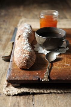 food styling with vintage spoon and bread board Repinned by www.silver-and-grey.com
