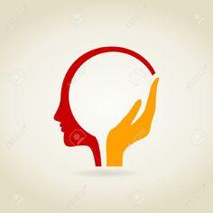 A vector illustration (brain, human, head) Logo Mano, Massage Logo, Brain Illustration, Clinic Logo, Brain Logo, Graphic Design Brochure, 2 Logo, Hand Logo, Creative Logo