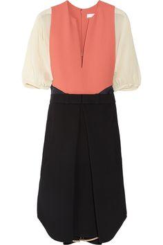 Chloé Color-block crepe and silk-chiffon dress NET-A-PORTER.COM
