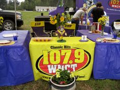 Competition tent from a local radio station, showing off their ECU Pirate pride