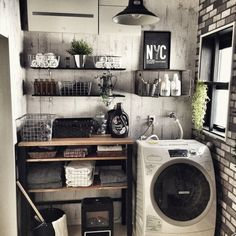Laundry Room - who says your linens have to be boring? Laundry Room Inspiration, Home Decor Inspiration, Industrial House, Vintage Industrial, Room Interior, Interior Design, Style Deco, Laundry Room Design, Home And Deco