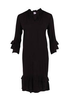 Kjole med flæser - sort