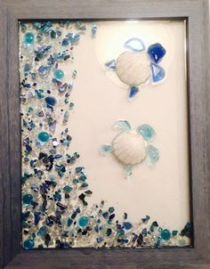 Items similar to Sea Glass Turtles Window on Etsy - -You can find Turtles and more on our website.Items similar to Sea Glass Turtles Window on Etsy - - Sea Glass Crafts, Sea Crafts, Sea Glass Art, Stained Glass Art, Resin Crafts, Resin Art, Sea Glass Beach, Nature Crafts, Seashell Art